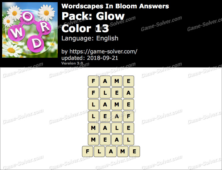Wordscapes In Bloom Glow-Color 13 Answers