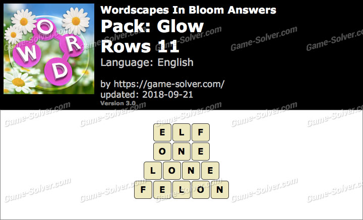 Wordscapes In Bloom Glow-Rows 11 Answers