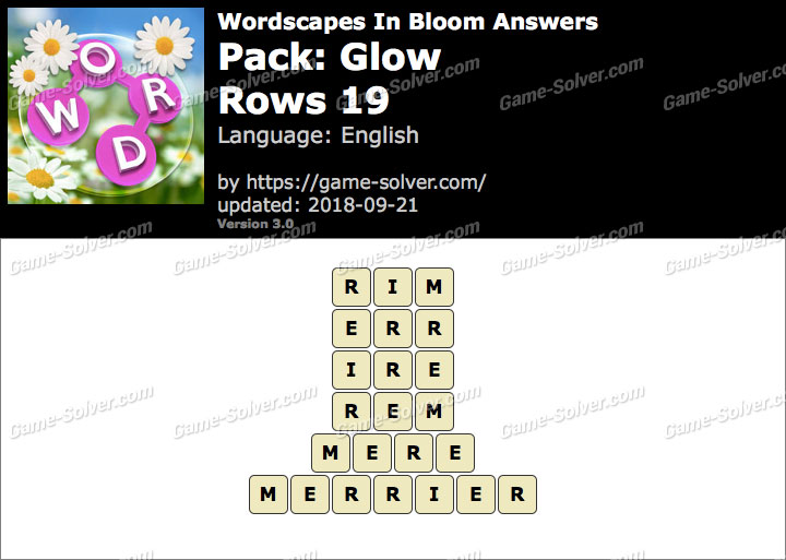 Wordscapes In Bloom Glow-Rows 19 Answers