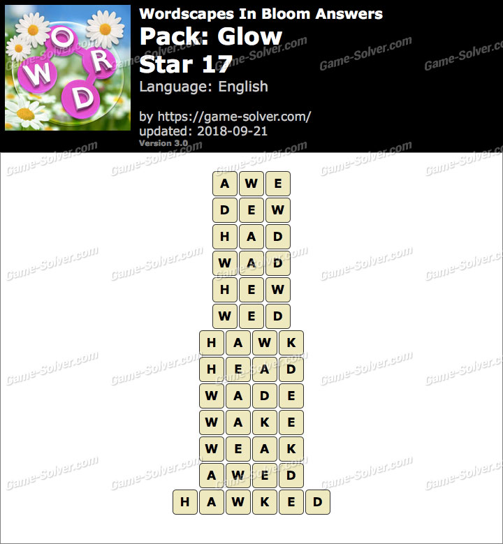 Wordscapes In Bloom Glow-Star 17 Answers