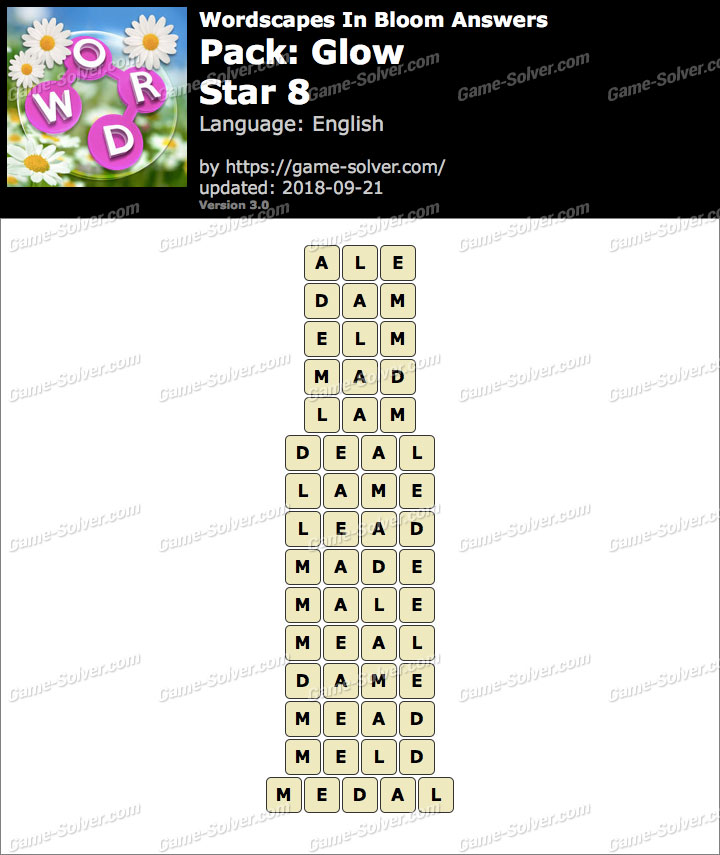 Wordscapes In Bloom Glow-Star 8 Answers