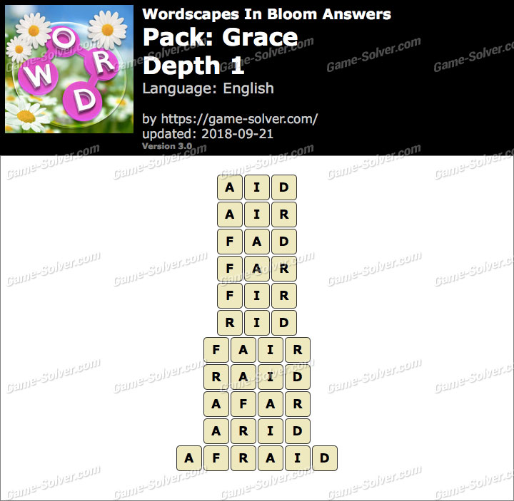 Wordscapes In Bloom Grace-Depth 1 Answers