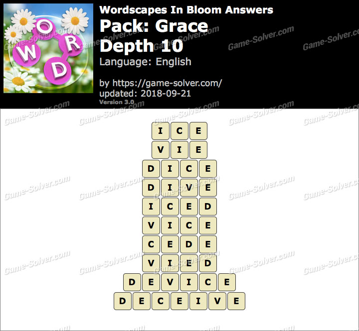 Wordscapes In Bloom Grace-Depth 10 Answers