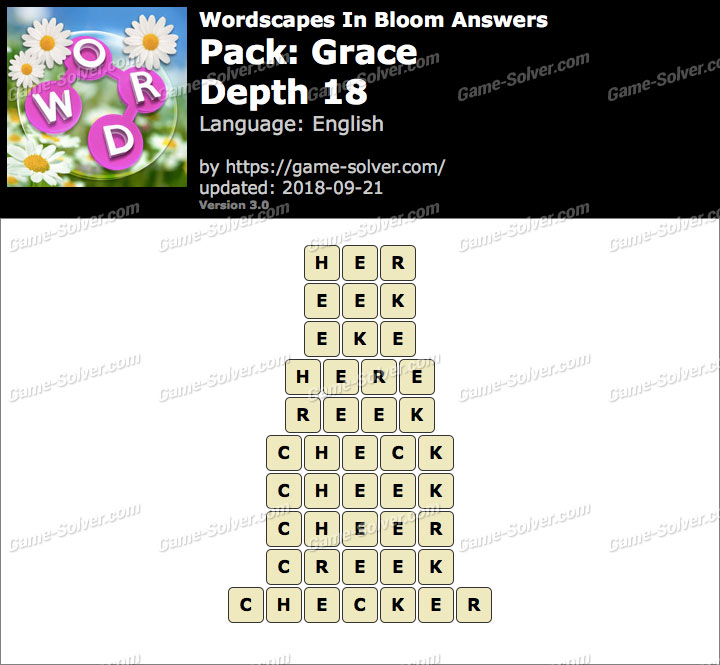 Wordscapes In Bloom Grace-Depth 18 Answers