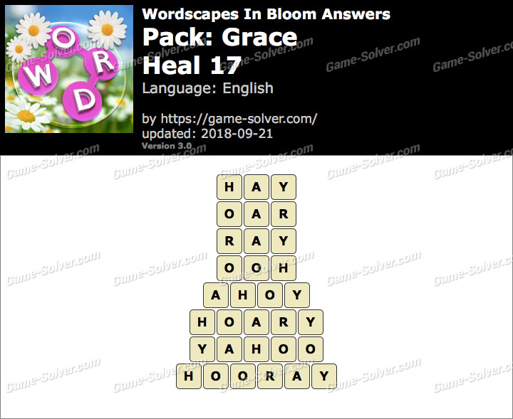 Wordscapes In Bloom Grace-Heal 17 Answers