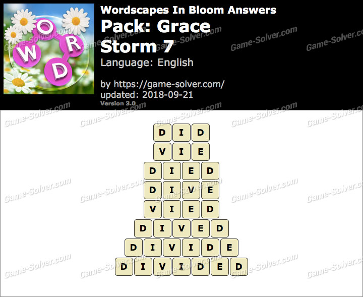 Wordscapes In Bloom Grace-Storm 7 Answers