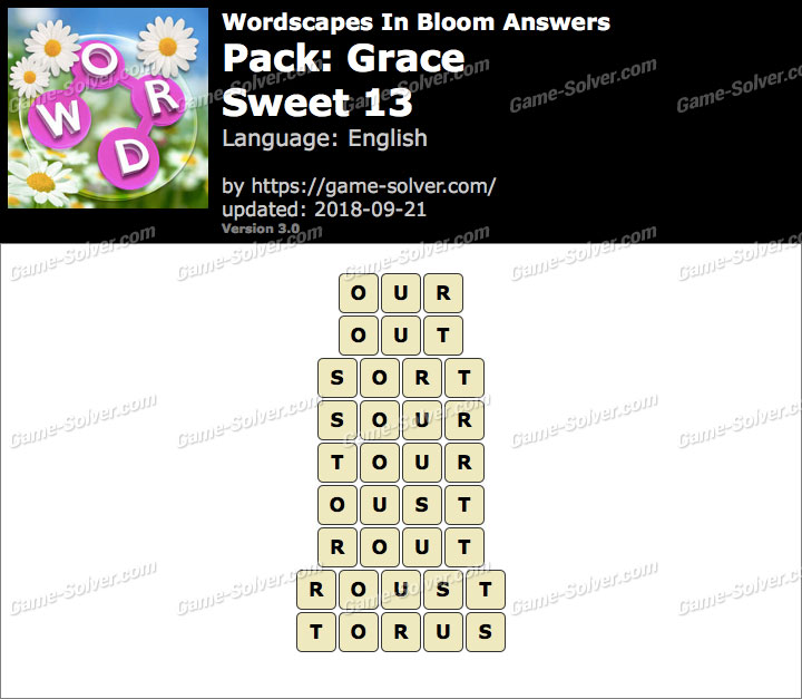 Wordscapes In Bloom Grace-Sweet 13 Answers