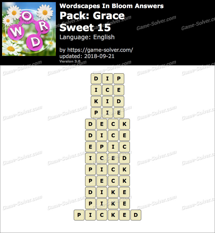 Wordscapes In Bloom Grace-Sweet 15 Answers