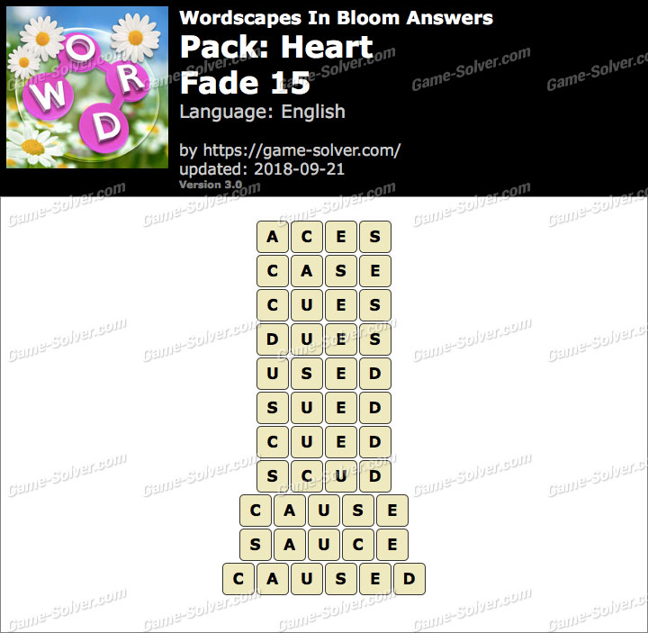 Wordscapes In Bloom Heart-Fade 15 Answers