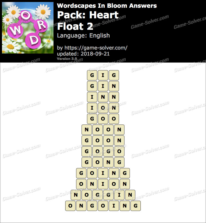 Wordscapes In Bloom Heart-Float 2 Answers