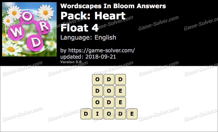 Wordscapes In Bloom Heart-Float 4 Answers
