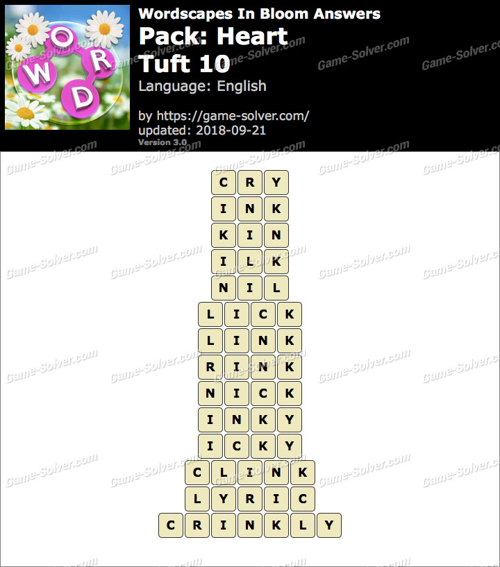 Wordscapes In Bloom Heart-Tuft 10 Answers