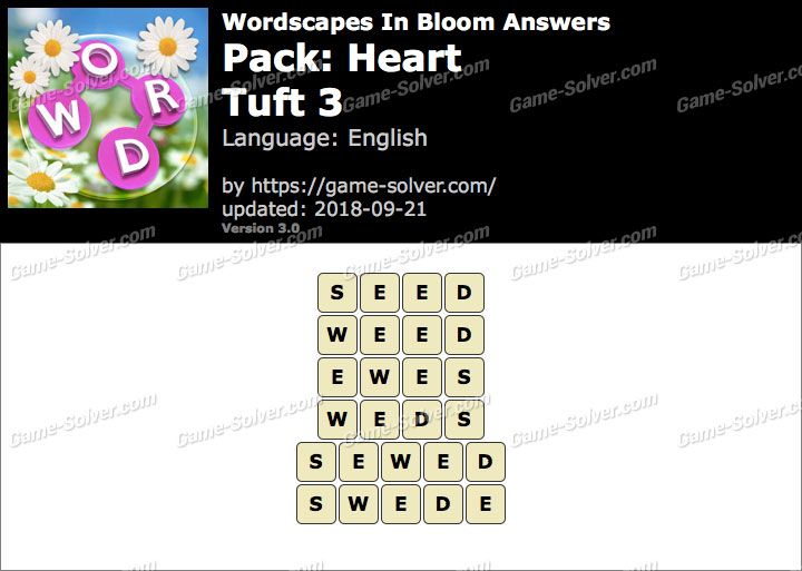 Wordscapes In Bloom Heart-Tuft 3 Answers