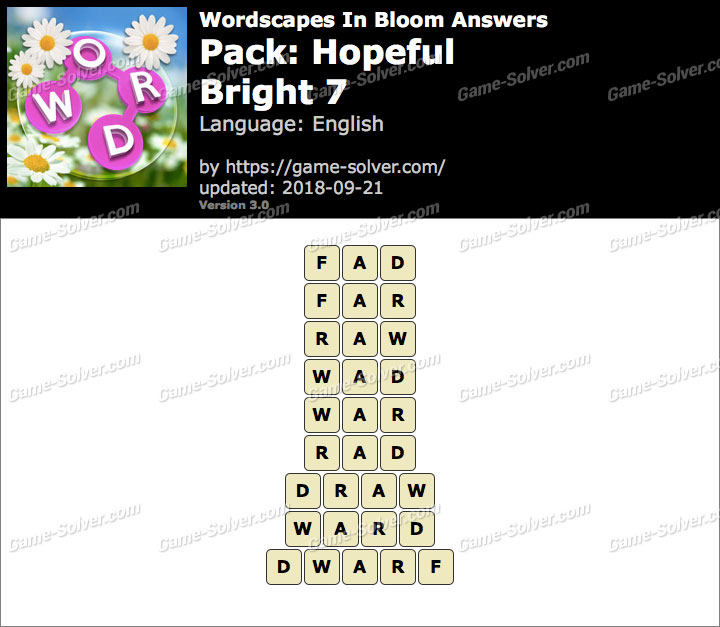 Wordscapes In Bloom Hopeful-Bright 7 Answers