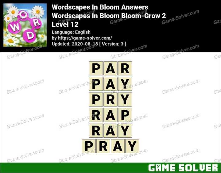 Wordscapes In Bloom Light-Peek 12 Answers