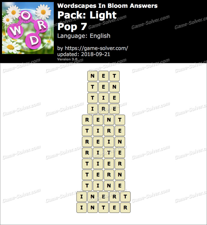 Wordscapes In Bloom Light-Pop 7 Answers