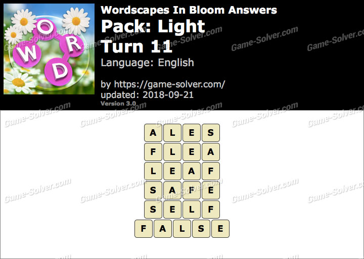 Wordscapes In Bloom Light-Turn 11 Answers