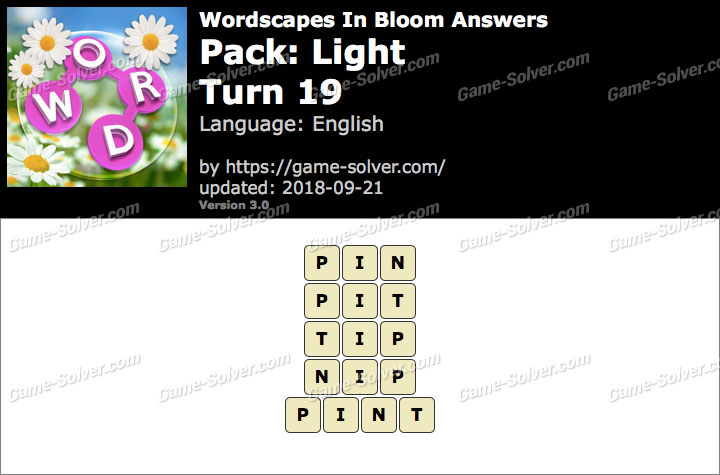 Wordscapes In Bloom Light-Turn 19 Answers