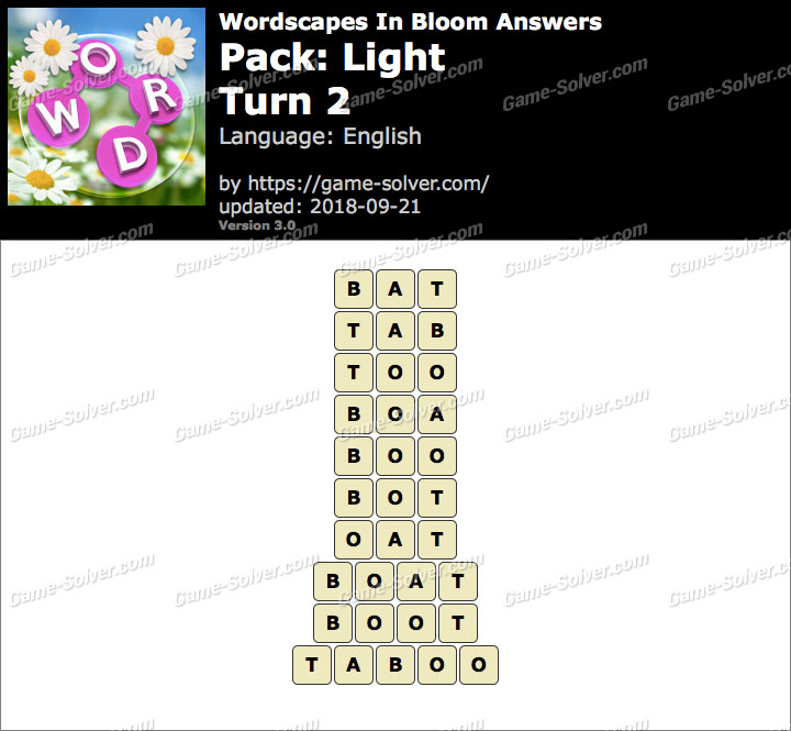 Wordscapes In Bloom Light-Turn 2 Answers