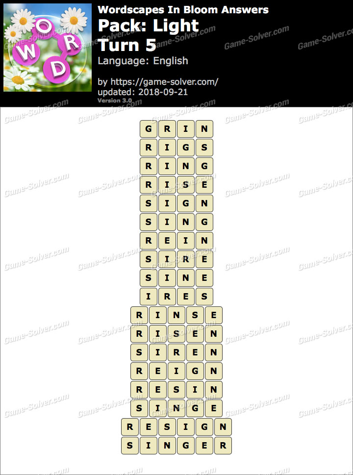 Wordscapes In Bloom Light-Turn 5 Answers