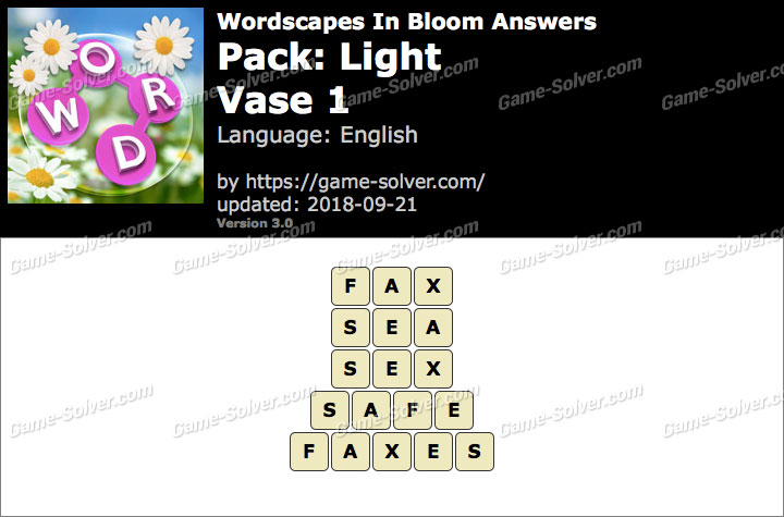 Wordscapes In Bloom Light-Vase 1 Answers