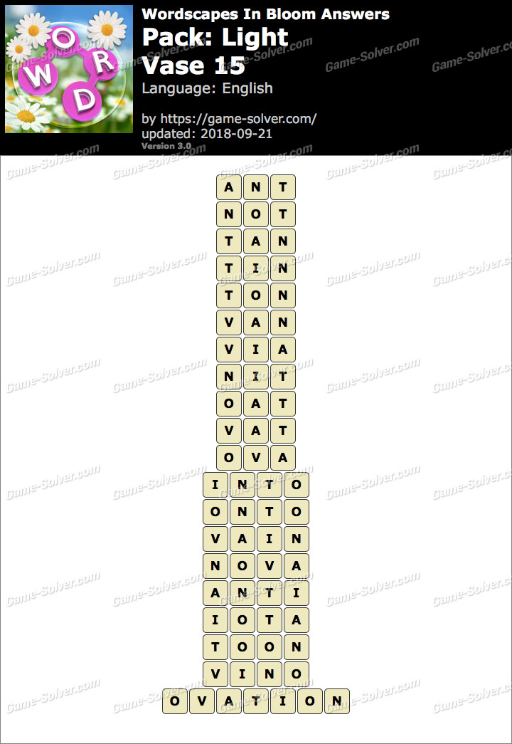 Wordscapes In Bloom Light-Vase 15 Answers