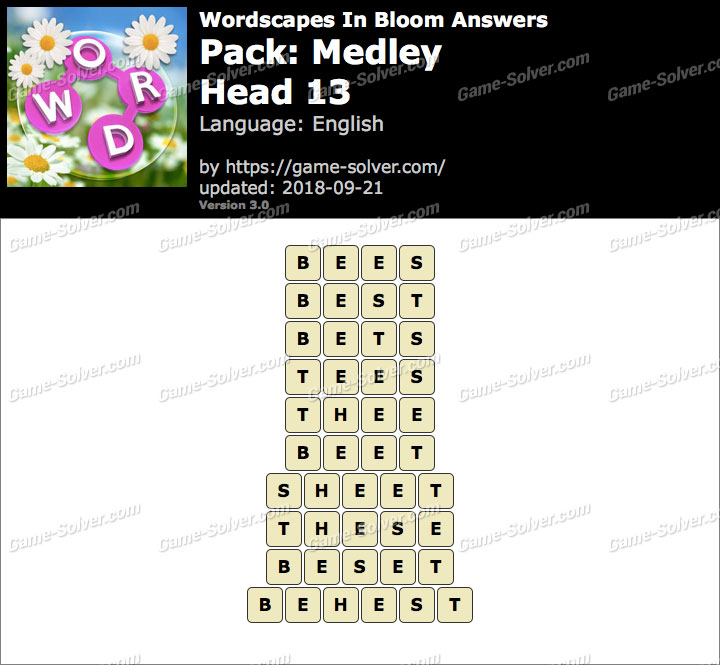 Wordscapes In Bloom Medley-Head 13 Answers
