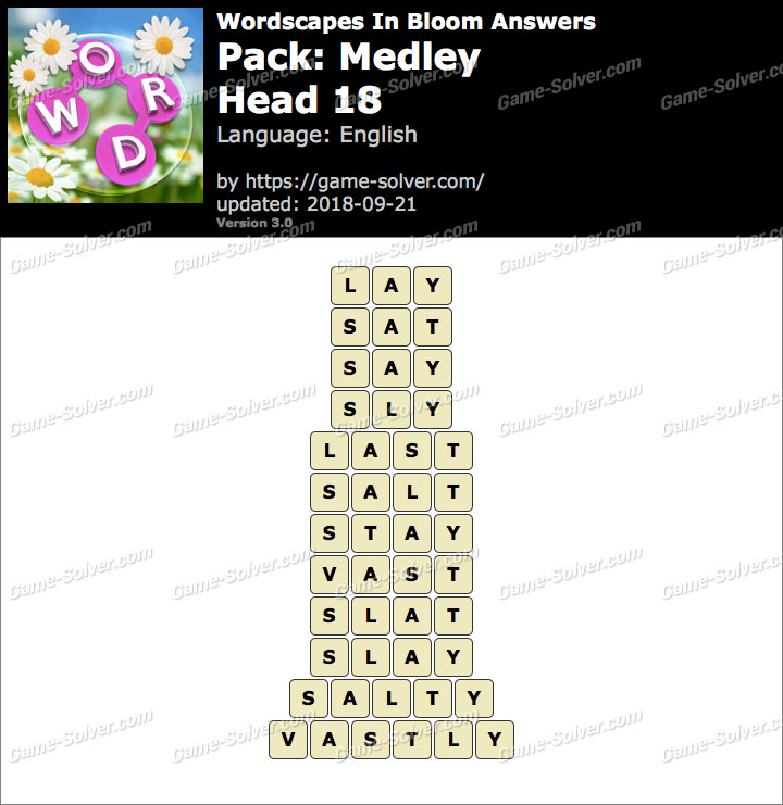 Wordscapes In Bloom Medley-Head 18 Answers