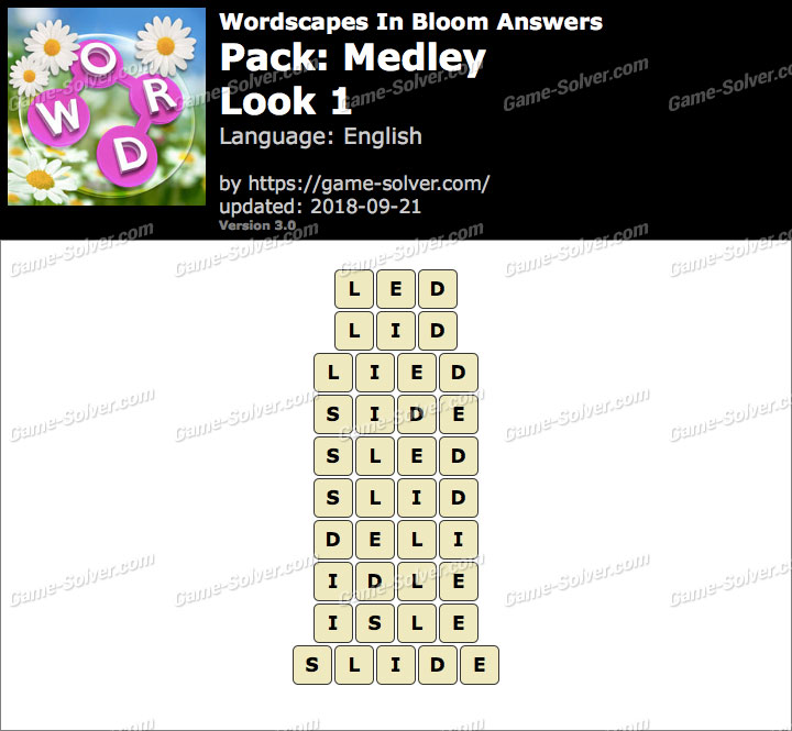 Wordscapes In Bloom Medley-Look 1 Answers
