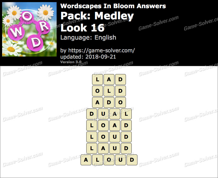 Wordscapes In Bloom Medley-Look 16 Answers