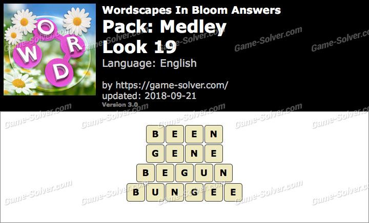 Wordscapes In Bloom Medley-Look 19 Answers