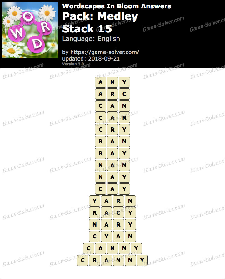 Wordscapes In Bloom Medley-Stack 15 Answers