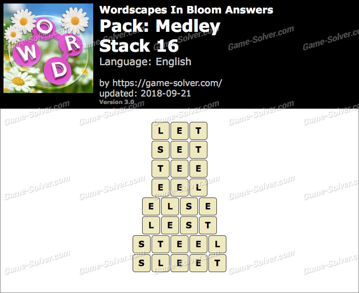 Wordscapes In Bloom Medley-Stack 16 Answers
