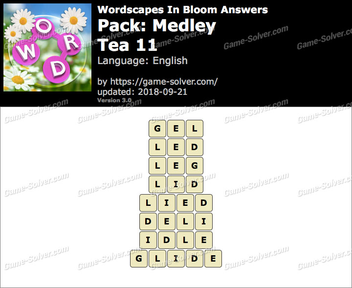 Wordscapes In Bloom Medley-Tea 11 Answers