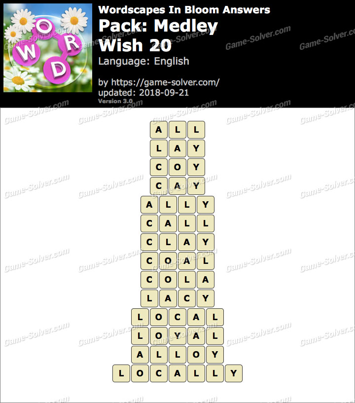 Wordscapes In Bloom Medley-Wish 20 Answers