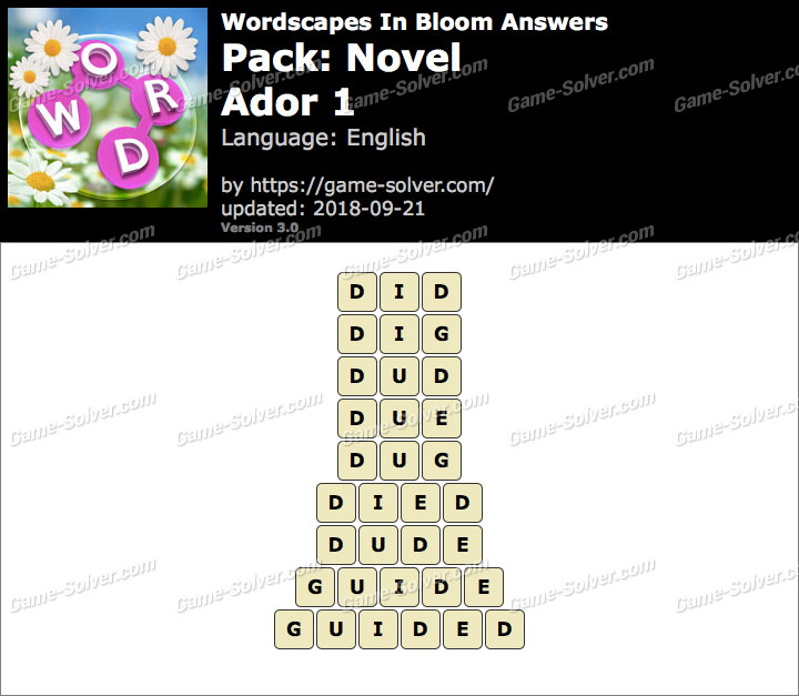 Wordscapes In Bloom Novel-Ador 1 Answers