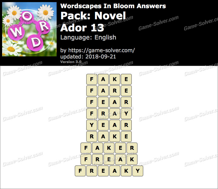 Wordscapes In Bloom Novel-Ador 13 Answers