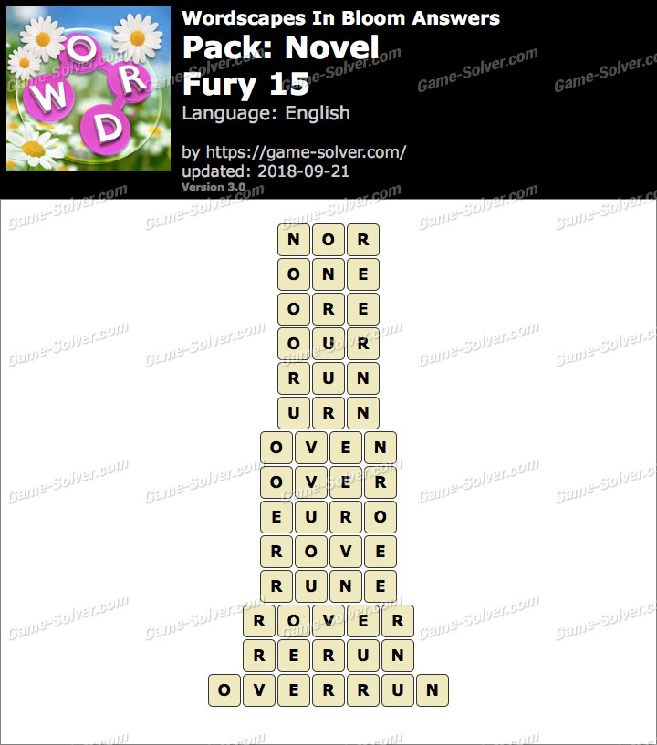 Wordscapes In Bloom Novel-Fury 15 Answers