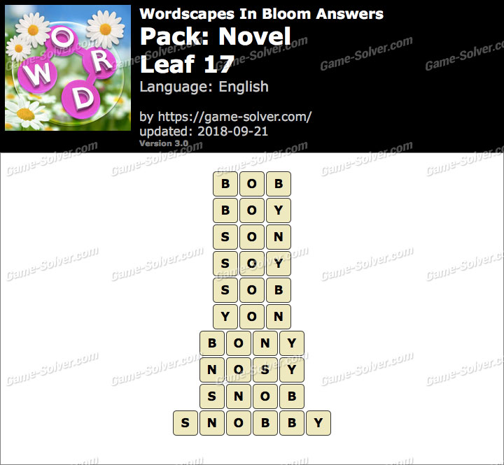 Wordscapes In Bloom Novel-Leaf 17 Answers