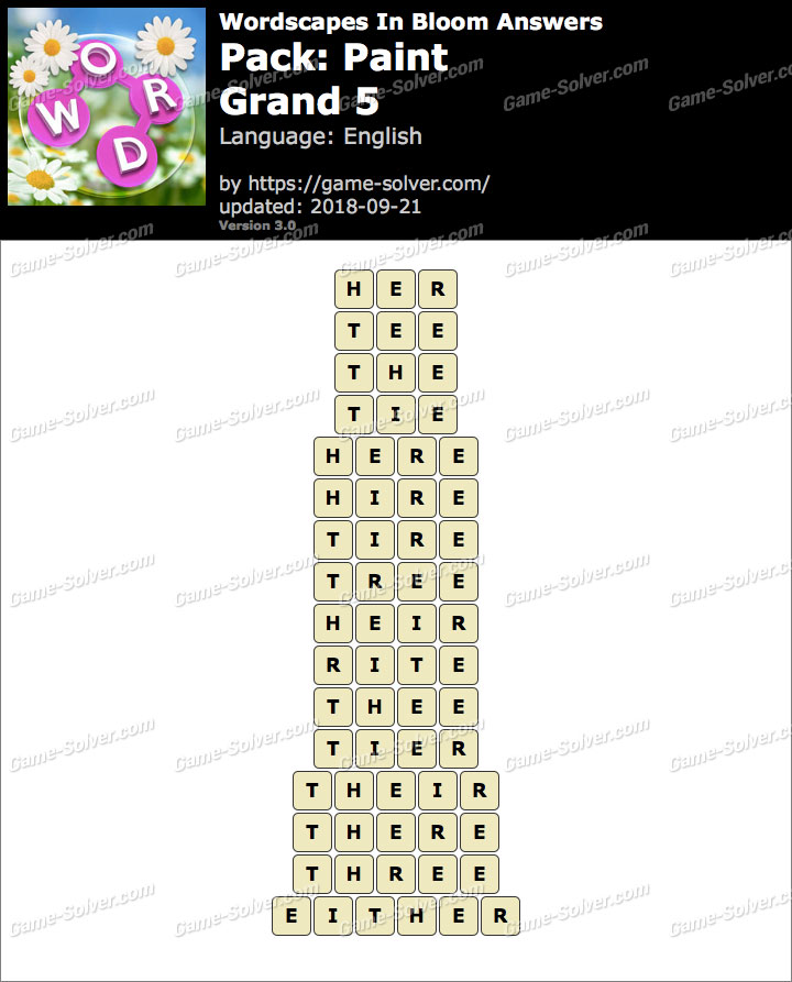 Wordscapes In Bloom Paint-Grand 5 Answers