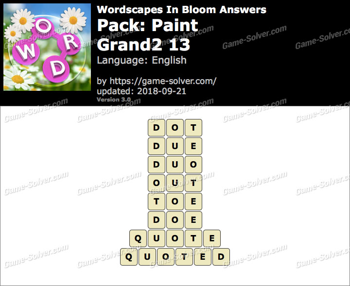 Wordscapes In Bloom Paint-Grand2 13 Answers