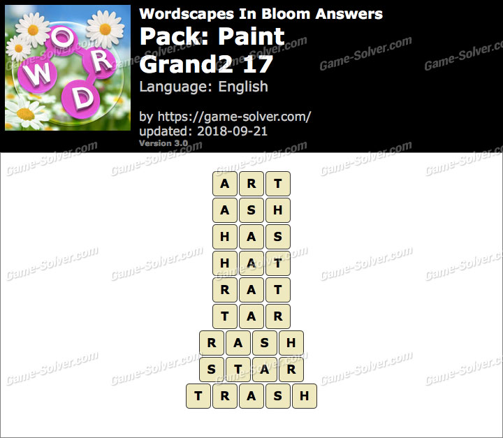 Wordscapes In Bloom Paint-Grand2 17 Answers