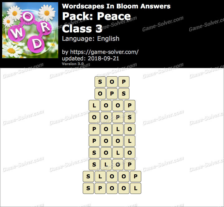 Wordscapes In Bloom Peace-Class 3 Answers