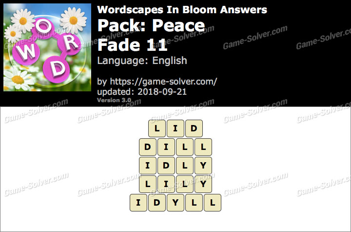 Wordscapes In Bloom Peace-Fade 11 Answers