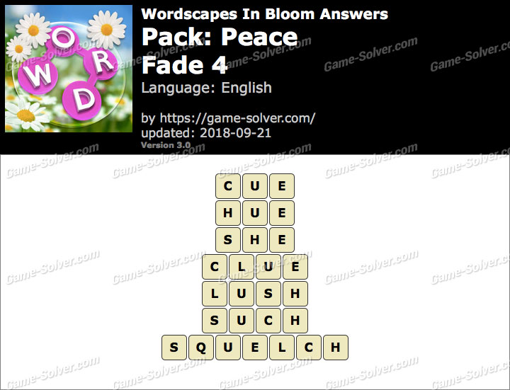 Wordscapes In Bloom Peace-Fade 4 Answers