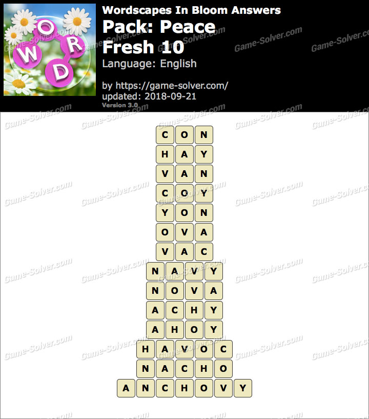 Wordscapes In Bloom Peace-Fresh 10 Answers