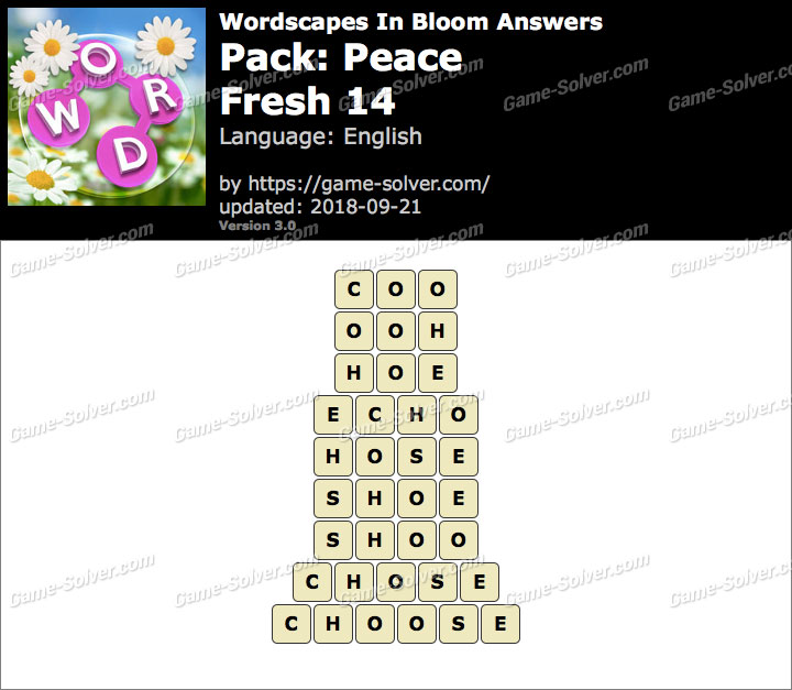 Wordscapes In Bloom Peace-Fresh 14 Answers