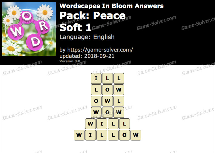 Wordscapes In Bloom Peace-Soft 1 Answers