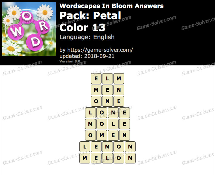 Wordscapes In Bloom Petal-Color 13 Answers