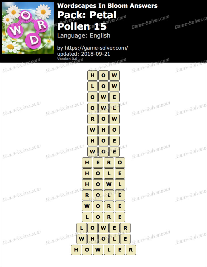Wordscapes In Bloom Petal-Pollen 15 Answers